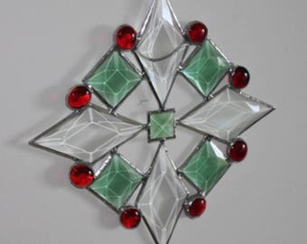 Star in Clear Green Red Suncatcher Ornament Christmas Decoration Large
