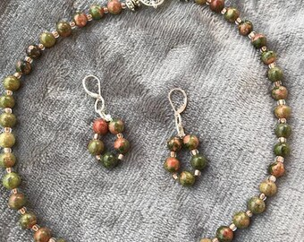 Unakite Beaded Necklace with Earrings for pierced ears