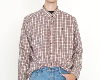 VINTAGE Red Checked Long Sleeve Button Downs Retro F&F Shirt