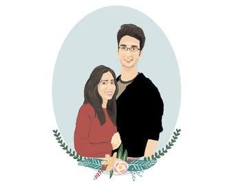 Custom Couple Illustration | Anniversary | Custom Portrait | Couple Illustration | Wall Art | Personalised Gift