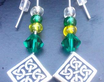 Celtic Diamond Shape and Swarovski Chrystal Glass Seed Beads Green Earrings