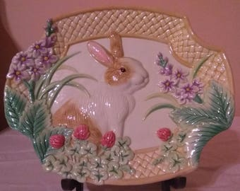 Fitz and Floyd Essentials Botanical Bunny Canape Plate