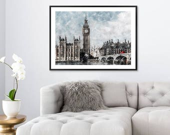 Superieur City Print, London Art Print, Watercolor Print London UK Poster, Travel Wall  Art