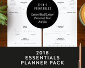 2018 Essentials Planner Pack | Minimalist Printable Download, Diary Week and Month, Mon & Sun Start, Daily and Weekly Plans and Schedules