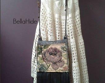 Leather Tapestry bag, fringed leather bag, black leather bag, festival bag, bohemian bag, small cell phone bag, crossover bag, tassel bag
