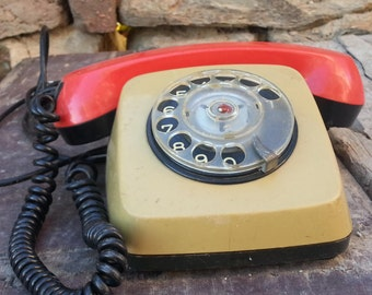 Working phone / Rotary phone / Retro phone / Old phone / Vintage phone / Antique phone / Bulgarian phone / Historical telephone /Collectible