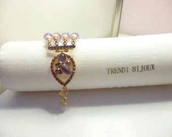 Bracelet in pearls and semiprecious stones Swarovski
