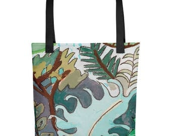 Leaves and Ferns - Amazingly beautiful full color tote bag with black handle featuring children's donated artwork.