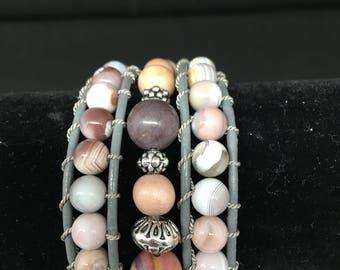 Leather Wrap Bracelet With Botswana Agate Gemstones!