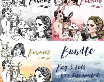 Bunnnies Clip Art | Hand Drawn Graphics | Illlustration, Digital Cliparts | Girl Clip Art | Watercolour Clip Art | Bunny