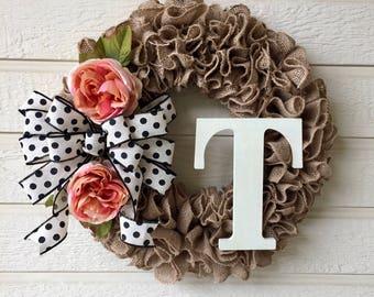 Peony Burlap Wreath / Peony Monogram Wreath / Burlap Ruffle Wreath