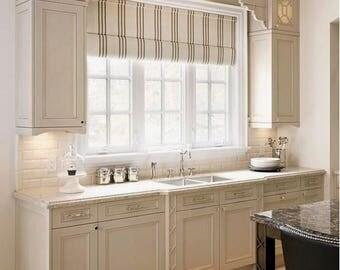 CUSTOM Roman Shades Fabric QUICK SHIP Striped Roman Shades Check Kitchen  Window Shades Linen Roman Shade