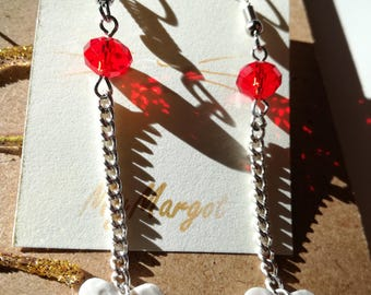 Pendant earrings with white and red heart