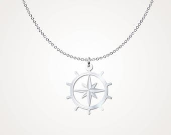 Ships Helm Pendant - .925 Sterling Silver Necklace