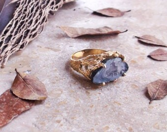 Agate Ring Band Blue Raw Ring Festival Jewelry Gift Ring for Coachella
