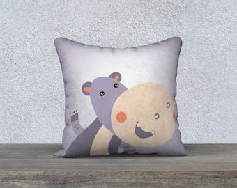 """Kids decorative cushion cover """"Hippo"""" pillowcase pillow gift, baby-child-decor-animal themed room"""