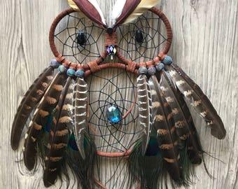 Brown Owl Dream Catcher, Wall Hanging, Handmade, Unique, Gift, Home Decor, Boho