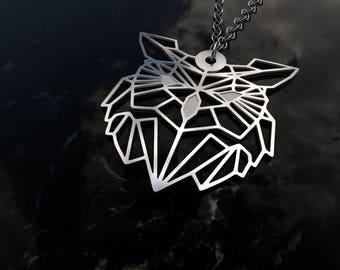 Owl geometric design - sterling silver pendant necklace