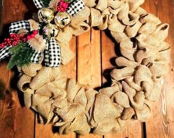 Classic Burlap Christmas Wreath
