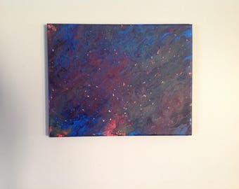 "Acrylic Pour Painting // Abstract Art // Acrylic Painting // Original Painting // Wall Art // Home Decor // Colorful Art //""Deep Space"""