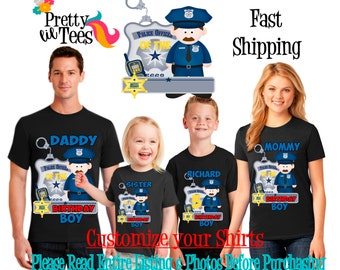 POLICEMAN Birthday BOY Theme Family BLACK Shirts For the Entire Family Mom Dad and More T-shirts Long/ Short sleeve police man officer