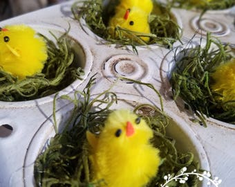 Easter Spring Chicks in Upcycled Mini Cupcake Pan with Iron Stand