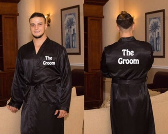 Monogrammed Mens Satin Robe, Mens Robe, Man Robe, Groom Robe, Monogram, Monograms,Groomsmen's Robe, Groomsmen's Gifts, Wedding Gifts