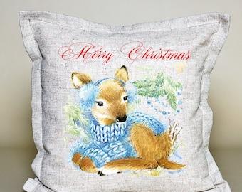 Deer Pillow Cover, Christmas Decorative Throw Pillow, Christmas Cushion, Christmas Decor, Holiday pillow, 16''x16'', 100% linen