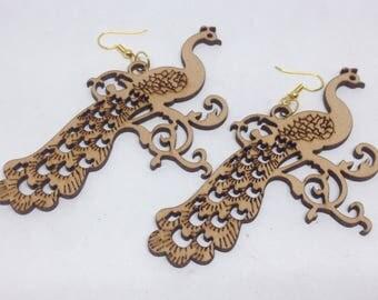 1 pair wooden earrings - 95mm - 1pair- sewing, wooden earring, apparels   - HA-05