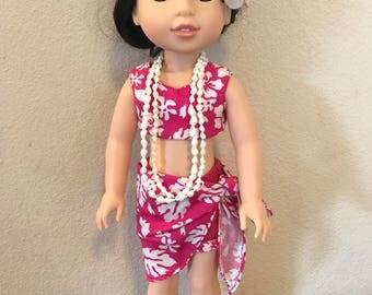 Wellie Wisher Hawaiian Pareau and Shorts - Pink