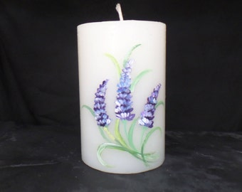 Handpainted model Lavender candle