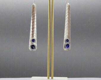 Sapphire Blue Enamel Drop Earings