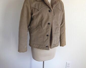 Vintage Brown Men's Western Velveteen Coat Faux Shearling Size 44