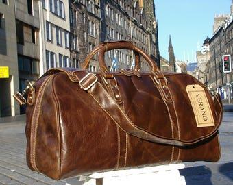 SALE New Fine Italian Leather Duffle Overnight Travel Flight Bag Holdall Mens Birthday Gift Chestnut Brown Verano