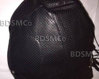 Real Leather Bdsm Perforated Bondage Gimp Mask Slave Hood Locking Collar JEL4