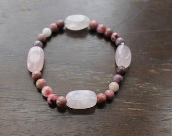Rose Quartz and Rhodochrosite Bracelet