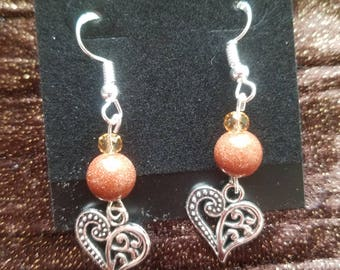Gold/Sandstone Heart Earrings