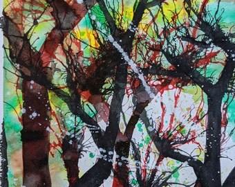 "Original Mixed Media Abstract Painting ""Screech."" 11""x17"""