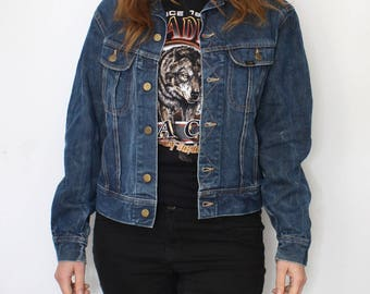 LEE 101-J denim jacket - rare 60s / 70s vintage trucker jacket dark blue jeans - Lee Riders sanforised 101 J - 101J unisex - size 40 regular