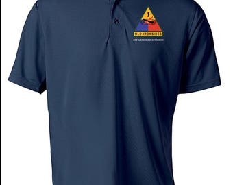 1st Armored Division Embroidered Moisture Wick Polo Shirt -3206