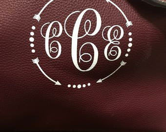 Monogrammed Faux Leather Purse