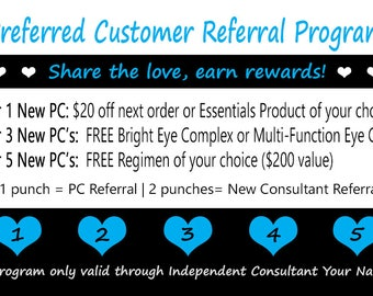 Rodan + Fields Preferred Customer Referral Card