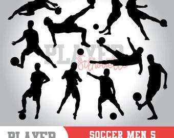 Soccer Men SVG, Soccer player svg, Soccer digital clipart, athlete silhouette, Soccer Men sport, cut file, design, A-019