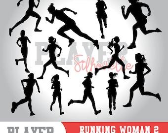 Running Women SVG, Running Sport svg, Runner digital clipart, athlete silhouette, Running Women, cut file, design, A-050