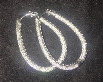 Sterling Silver Pavé Hoop Earrings
