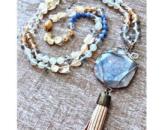 Mala Sky Agate & Citrine Necklace