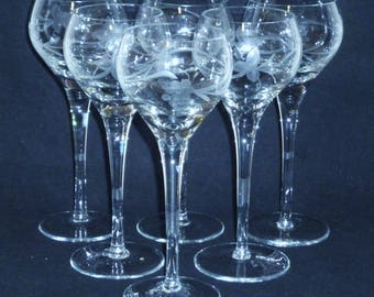 """6 Bohemia WINE HOCKS Vintage Clear Crystal Glasses Goblets 7-1/2"""" Czech Germany Grapes Leaves cut design"""