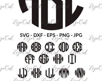 Circle Monogram Font SVG, Svg Monogram Letters, Circle Monogram Alphabet .