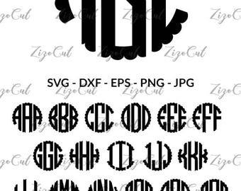 Scalloped Circle Monogram Font SVG , Circle Alphabet DXF, Scalloped Letters svg, Scalloped alphabet