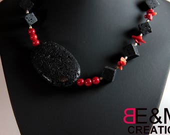 Necklace of lava stone and dyed coral, 925 sterling silver